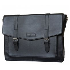 Большая мужская сумка через плечо черного цвета с модными ремешками от Carlo Gattini, арт. 5010-01