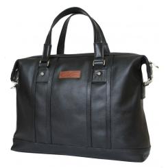 Мужская деловая сумка из черной натуральной кожи под документы и средний ноутбук от Carlo Gattini, арт. 5012-01