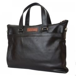 Вместительная деловая мужская сумка из натуральной кожи черного цвета от Carlo Gattini, арт. 5014-01
