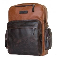 Светло коричневый кожаный рюкзак с темно коричневым карманом от Carlo Gattini, арт. 3001-03