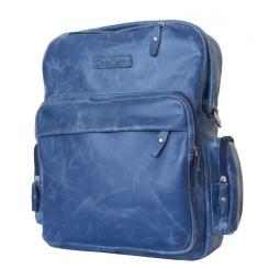 Мужской рюкзак с одним отделением из натуральной кожи синего цвета от Carlo Gattini, арт. 3001-07