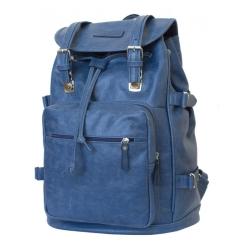 Большой мужской рюкзак из натуральной кожи синего цвета, вмещает большой ноутбук от Carlo Gattini, арт. 3004-10