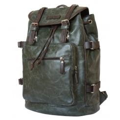 Стильный кожаный рюкзак темно-зеленого цвета с одним отделением от Carlo Gattini, арт. 3004-11