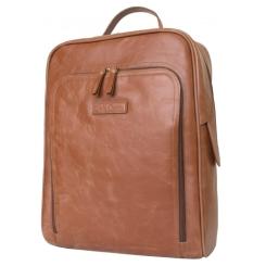 Классический кожаный рюкзак коньячного цвета в городском стиле под средний ноутбук и документы от Carlo Gattini, арт. 3018-03