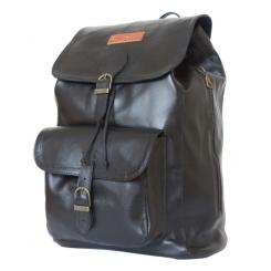Мужской кожаный рюкзак черного цвета с двумя накладными карманами от Carlo Gattini, арт. 3021-01