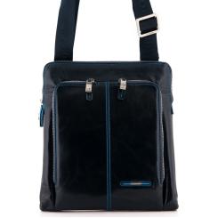 Стильная и вместительная мужская кожаная сумка планшет темно синего цвета от Dor. Flinger, арт. 214 624 blue DF