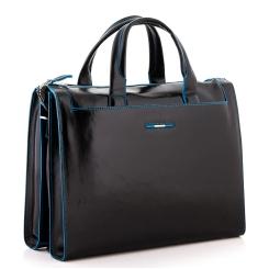 Вместительная мужская сумка в деловом стиле из натуральной кожи черного цвета от Dor. Flinger, арт. 3443 026 black DF
