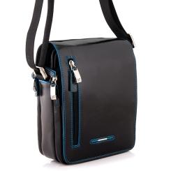 Маленькая мужская сумка из качественной натуральной кожи черного цвета от Dor. Flinger, арт. 0072 026 black DF