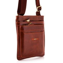 Кожаная мужская сумка планшет светло-коричневого цвета от Dor. Flinger, арт. 0616 625A brown DF