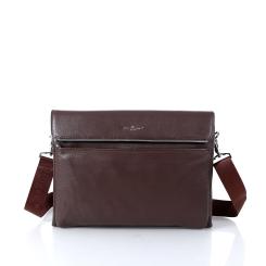 Мужская кожаная сумка для документов формата А4 светло-коричневого цвета от Dor. Flinger, арт. 0627 028 licht kaffee DF