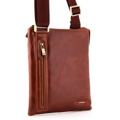 Мужская сумка планшет из качественной натуральной кожи светло-коричневого цвета от Dor. Flinger, арт. 3475 625A brown DF