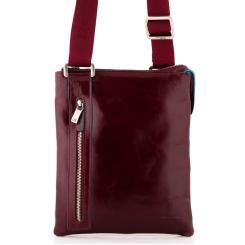 Модная кожаная сумка планшет для мужчин, выполнена в красно-коричневом цвете от Dor. Flinger, арт. 3475 629 rosso DF
