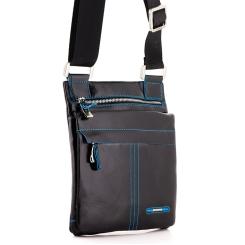 Кожаная мужская сумка планшет черного цвета с длинным текстильным ремешком от Dor. Flinger, арт. 0610 026 black DF