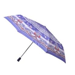 Стильный женский зонт автомат нежно-синего цвета с рисунком от Fabretti, арт. L-16101-2