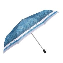 Женский супер-легкий зонт автомат с красивым принтом на морскую тематику от Fabretti, арт. L-16102-3