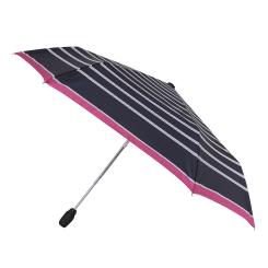 Черный полосатый женский зонт с маленьким куполом от Fabretti, арт. T-16106