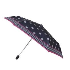 Женский зонт темного цвета с принтом в крупный горох и розовой окантовкой от Fabretti, арт. T-16111