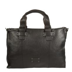 Большая мужская деловая сумка из натуральной кожи черного цвета от Gianni Conti, арт. 1131410 black