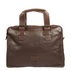 Деловая мужская сумка для ноутбука с необычным дизайном из натуральной кожи от Gianni Conti, арт. 1131411 dark brown