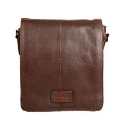 Коричневая кожаная мужская сумка с тканевой подкладкой от Gianni Conti, арт. 1132317 dark brown