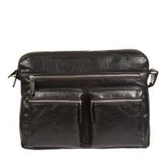 Большая мужская кожаная сумка через плечо черного цвета в деловом стиле от Gianni Conti, арт. 1482307 black