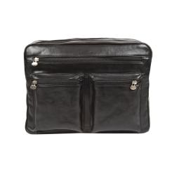 Классическая итальянская кожаная мужская сумка через плечо черного цвета от Gianni Conti, арт. 912307 black