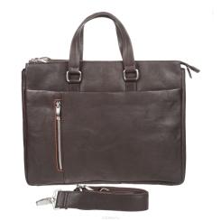 Большая деловая мужская сумка из коричневой натуральной кожи от Gianni Conti, арт. 1041261 dark brown