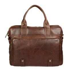 Деловая мужская кожаная сумка для ноутбука и документов от Gianni Conti, арт. 1221266 dark brown