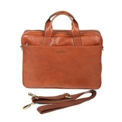 Стильная деловая мужская сумка из натуральной кожи коричневого цвета от Gianni Conti, арт. 911245 tan