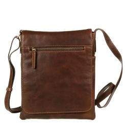 Кожаная мужская сумка планшет коричневого цвета под iPad и 10.1 от Gianni Conti, арт. 1222344 dark brown