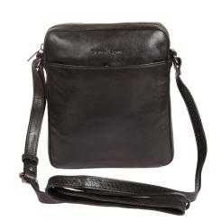 Мужская кожаная сумка планшет небольшого размера, выполнена в черном цвете от Gianni Conti, арт. 702154 black