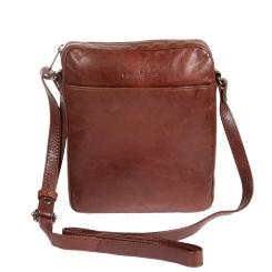 Небольшая мужская кожаная сумка планшет светло коричневого цвета от Gianni Conti, арт. 702154 brown