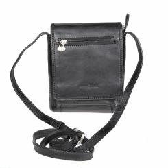 Маленькая мужская кожаная сумка планшет черного цвета на клапане от Gianni Conti, арт. 912130 black