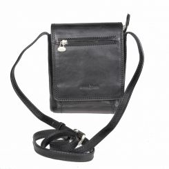 Маленькая мужская сумка планшет черного цвета на клапане от Gianni Conti, арт. 912130 black