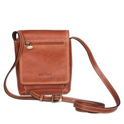 Маленькая мужская сумка из натуральной кожи коричневого цвета на клапане от Gianni Conti, арт. 912130 tan