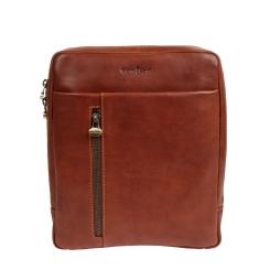 Стильная мужская сумка планшет из натуральной кожи коричневого цвета от Gianni Conti, арт. 912303 tan