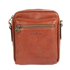 Коричневая маленькая итальянская мужская сумка через плечо от Gianni Conti, арт. 912345 tan