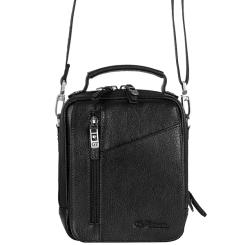 Вместительная мужская сумка небольшого размера из натуральной кожи черного цвета от Giorgio Ferretti, арт. 031 012 nero GF