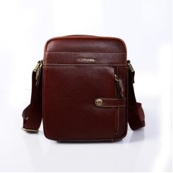 Мужская коричневая сумка из натуральной кожи с текстильным ремешком от Giorgio Ferretti, арт. 146 018 bruno-rossastro G