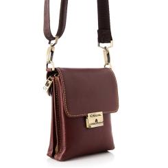 Коричневая маленькая кожаная мужская сумка через плечо с креплением на пояс от Giorgio Ferretti, арт. 3274 018 brown GF