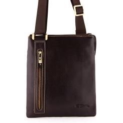 Коричневая сумка планшет для мужчин, сделана из натуральной кожи от Giorgio Ferretti, арт. 3475 019 rosolare GF