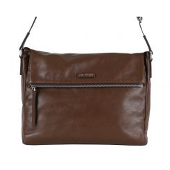 Коричневая мужская сумка через плечо из натуральной кожи для документов от Leo Ventoni, арт. 03002371-khaki