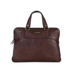 Стильная деловая кожаная сумка с двумя отделениями от Leo Ventoni, арт. 03002370-marrone