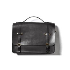 Кожаная мужская сумка через плечо черного цвета c ручкой и большим задним карманом от Long River, арт. BC-020