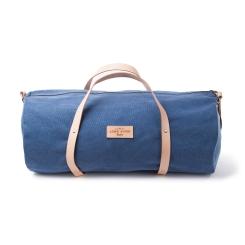 Мужская дорожная сумка из натуральной кожи и канваса синего цвета от Long River, арт. NK-030