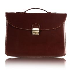 Коричневый мужской кожаный портфель в классическом стиле с застежкой на ключ от Merkur, арт. 00045530