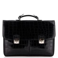 Мужской кожаный портфель большого размера в черном цвете от Merkur, арт. 80024710