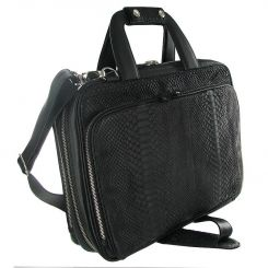 Мужская деловая сумка для ноутбука из черной натуральной кожи питона от Quarro, арт. GP-001