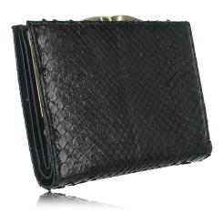 Классический женский кошелек из натуральной кожи питона черного цвета от Quarro, арт. WP-122