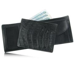 Модное мужское портмоне черного цвета из кожи каймана от Quarro, арт. WR-106